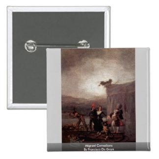 Migrant Comedians By Francisco De Goya 15 Cm Square Badge