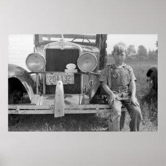 Migrant Fruit Picker s Car 1940 Print