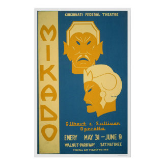 Mikado Gilbert Sullivan 1939 WPA Print