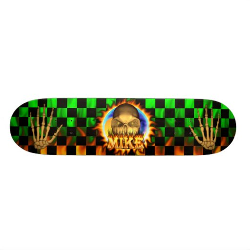 Mike skull real fire and flames skateboard design