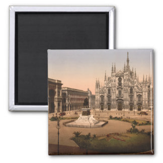 Milan Cathedral and Piazza, Lombardy, Italy Square Magnet
