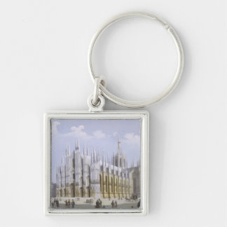 Milan Cathedral from 'Views of Milan and its Envir Silver-Colored Square Key Ring