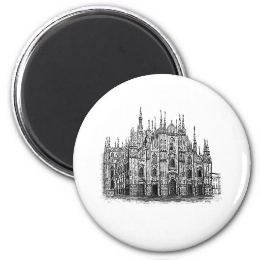 Milan Cathedral pen and ink Drawing button Fridge Magnet