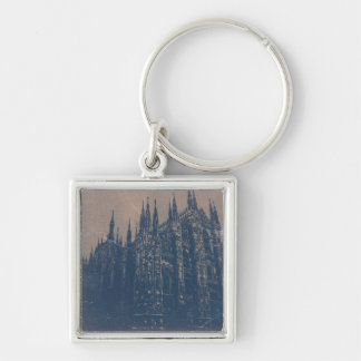 Milan Cathedral Silver-Colored Square Key Ring