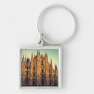 Milan, Italy Silver-Colored Square Key Ring