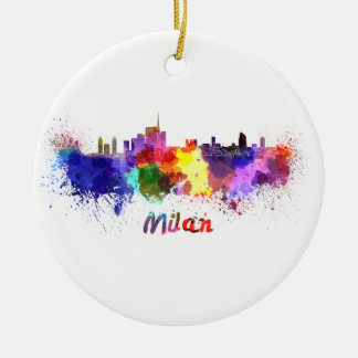 Milan skyline in watercolor christmas ornament