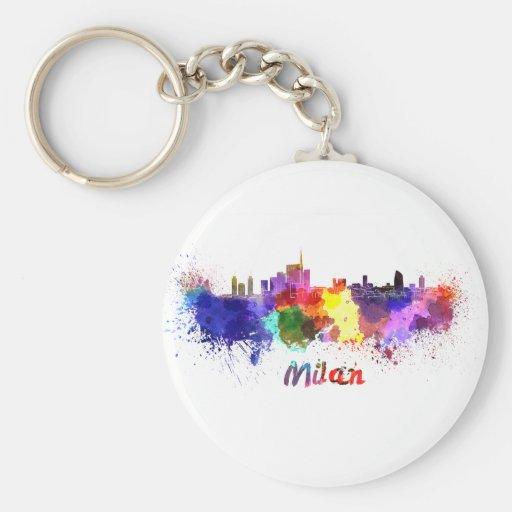 Milan skyline in watercolor key chains