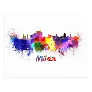 Milan skyline in watercolor postcard