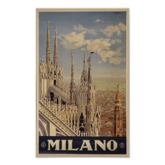 Milano cathedral retro vintage Italy travel art Poster