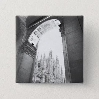 Milano Italy, Galleria View of the Duomo 15 Cm Square Badge