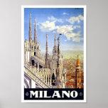 Milano Italy Vintage Travel Poster