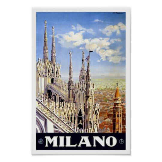 Milano Italy Vintage Travel Poster
