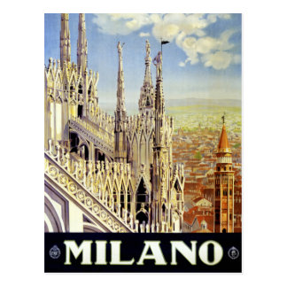 Milano Italy Vintage Travel Poster Restored Postcard