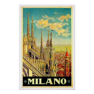 Milano / Milan Italy Cityscape Vintage Poster