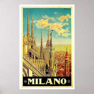 Milano Milan Italy Cityscape Vintage Posters