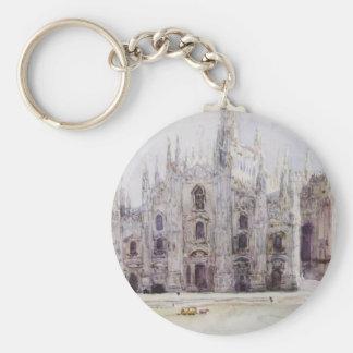 Milan's Cathedral by Vasily Surikov Basic Round Button Key Ring