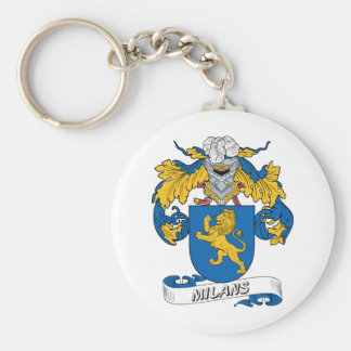Milans Family Crest Basic Round Button Key Ring