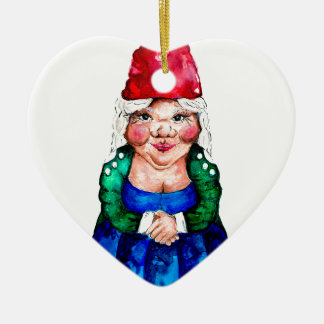 Mildred the gnome ceramic heart decoration