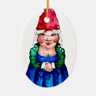 Mildred the gnome ceramic oval decoration