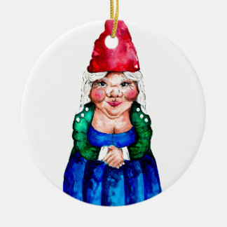 Mildred the gnome round ceramic decoration