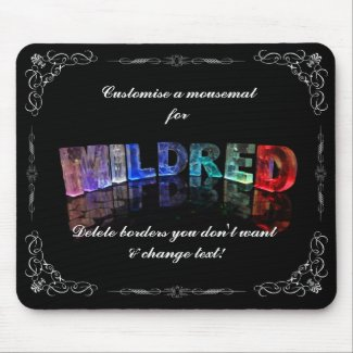 Mildred - The Name Mildred in 3D Lights (Photogra Mouse Pads