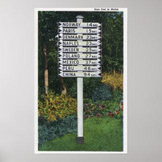 Mile Marker Sign Post Poster