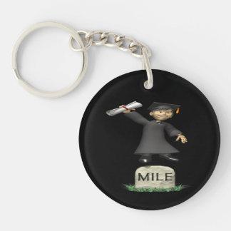 Mile Stone Double-Sided Round Acrylic Key Ring
