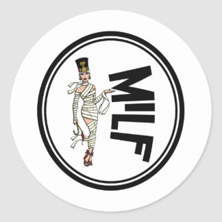 MILF Retro Mummy Pinup Girl Round Sticker