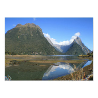 Milford Sound Bay, Mitre Peak, New Zealand 13 Cm X 18 Cm Invitation Card