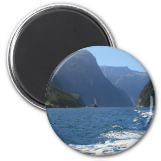 Milford Sound, New Zealand 6 Cm Round Magnet