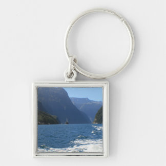 Milford Sound, New Zealand Silver-Colored Square Key Ring