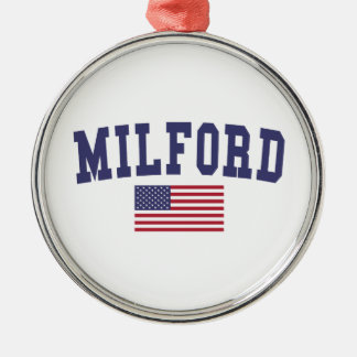 Milford US Flag Christmas Ornament