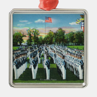 Military Academy Dress Parade Silver-Colored Square Decoration