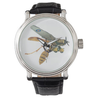 Military Aeroplane and Wasp Mens Leather Watch