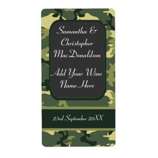 Military army camo wedding wine bottle shipping label