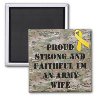 military army wife square magnet