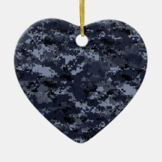 Military Blue Camo Heart Ceramic Heart Decoration