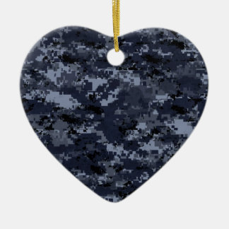 Military Blue Camo Heart Christmas Ornament