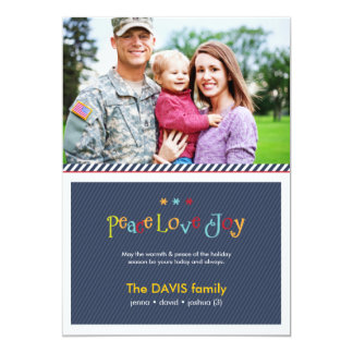 Military Blue Double Sided Holiday Photo Card 13 Cm X 18 Cm Invitation Card