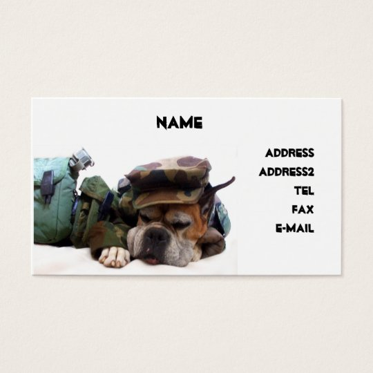 Military boxer dog business card