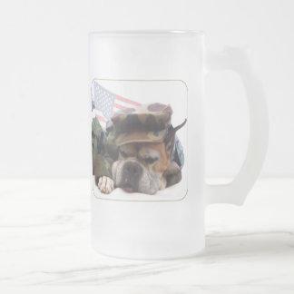 Military boxer dog mug
