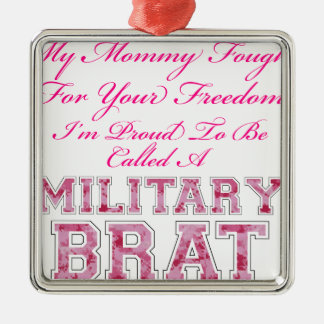 Military Brat Silver-Colored Square Decoration