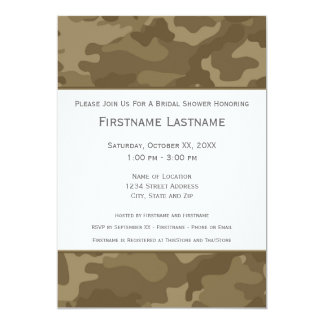 Military Camo Bridal Shower or Engagement Party 13 Cm X 18 Cm Invitation Card