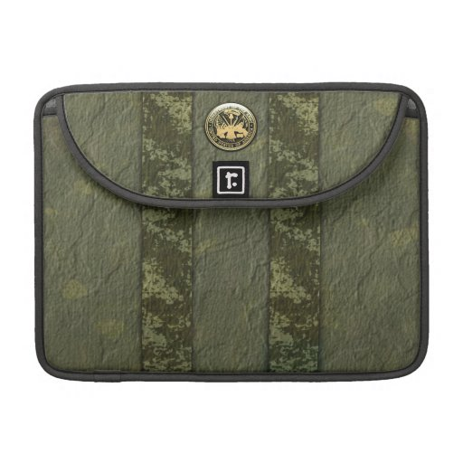 Military Camo Stripes with Army Insignia MacBook Pro Sleeves