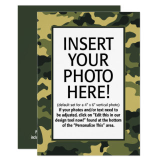 military camouflage  Birthday with Photo Card