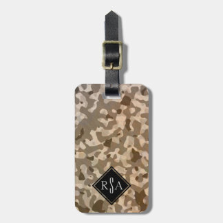 Military Camouflage Camo Pattern Brown Monogram Luggage Tag