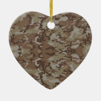 Military Camouflage Desert Ceramic Heart Decoration