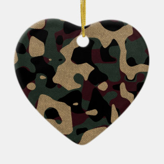 military camouflage pattern ceramic heart decoration
