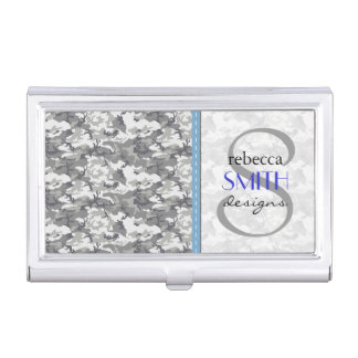 Military Camouflage Pattern - Gray White Business Card Case