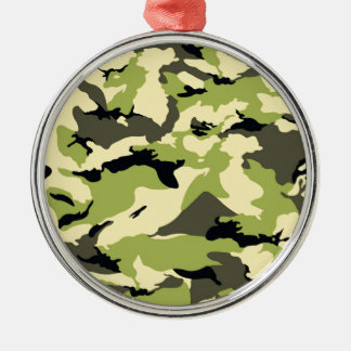 military camouflage pattern Silver-Colored round decoration